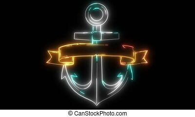 Anchor with ribbon or banner video animation - Anchor symbol...