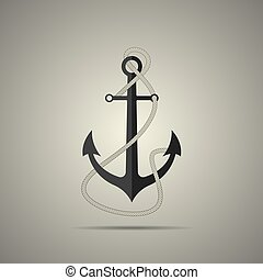 Anchor with rope icon, flat style