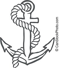 Anchor with rope. Vector