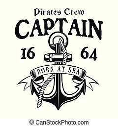 Anchor with rope vector pirate vintage emblem