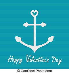 Anchor with shapes of heart. Striped background. Happy Valentine