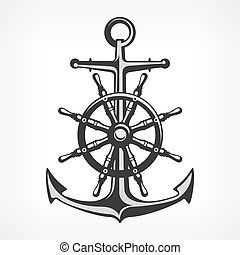 Anchor with steering wheel, nautical symbols on white,...
