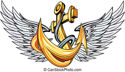 Anchor with wings