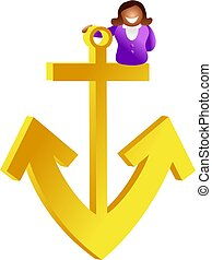 anchor woman - ethnic woman sitting on anchor - icon people ...