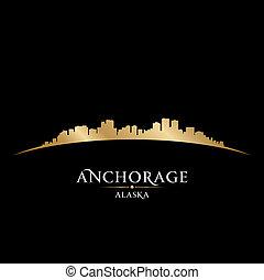Anchorage Alaska city skyline silhouette black background -...