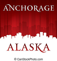 Anchorage Alaska city skyline silhouette red background -...