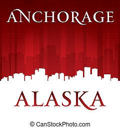 Anchorage Alaska city skyline silhouette red background -...