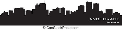 Anchorage, Alaska skyline. Detailed vector silhouette