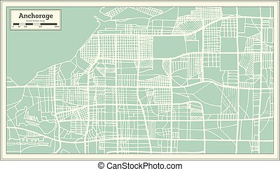 Anchorage Alaska USA City Map in Retro Style. Outline Map....