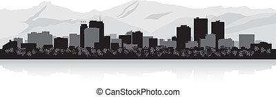 Anchorage city skyline silhouette - Anchorage USA city...