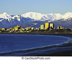 Anchorage cityview - A view from the bay of the city of...
