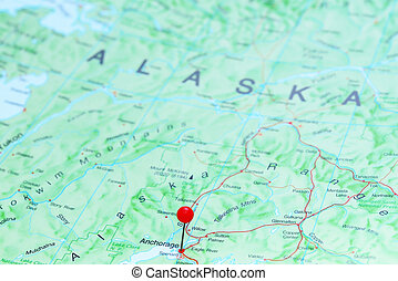 Anchorage pinned on map of America - Photo of pinned...