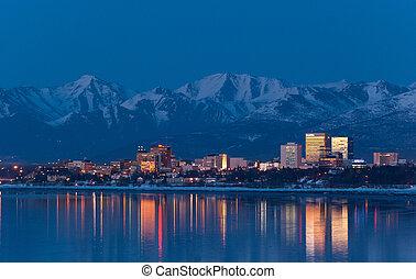 Anchorage Skyline - A photo of Anchorage, Alaska skyline