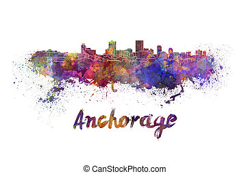 Anchorage skyline in watercolor splatters with clipping path