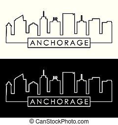 Anchorage skyline. Linear style. Editable vector file.