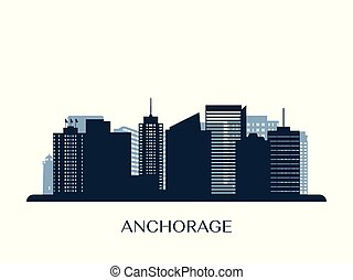 Anchorage skyline, monochrome silhouette.