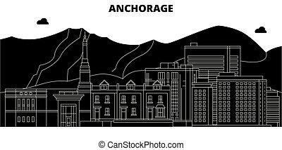 Anchorage, United States, vector skyline, travel illustration, landmarks, sights.