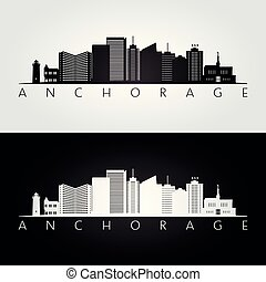 Anchorage usa skyline and landmarks silhouette, black and...