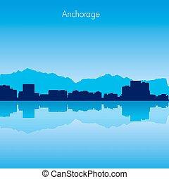 Anchorage Vector skyline - Anchorage USA Vector detailed...