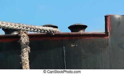 Anchored cargo ship
