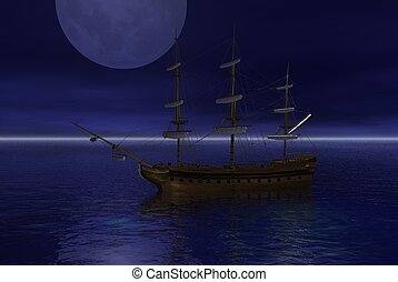Anchored Sailing Ship in the Moonli
