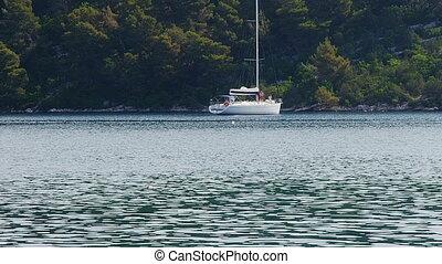 Anchored yachts and sailboats on island Mljet - national...
