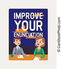 Anchorman courses banner. Improve your enunciation vector ...