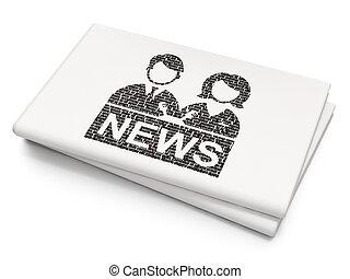 anchorman, fundo, em branco, jornal, notícia, concept: