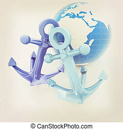 anchors and Earth. 3D illustration. Vintage style.