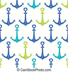 Anchors blue and green seamless pattern backgound - vector...