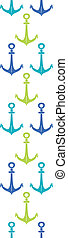 Anchors blue and green vertical seamless pattern backgound