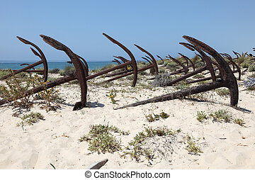 Anchors on the beach in Algarve, Portugal