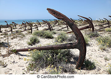 Anchors on the beach Praia do Barril in Tavira, Algarve Portugal
