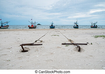 Anchors on the beach