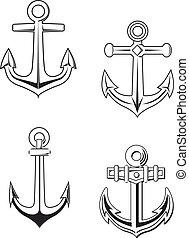 Anchors set - Set of anchors symbols for marine design