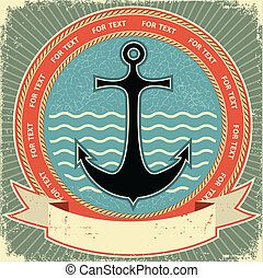 anchor.vintage, viejo, textura, etiqueta, papel, náutico