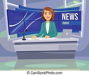 anchorwoman, personagem, ligado, tv., quebrar, news.,...