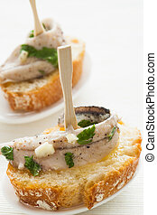 Anchovy tapas. Tasty and typical spanish food.