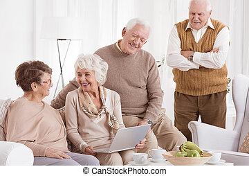 ancião, laptop, mulher, usos