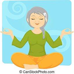 ancião, mulher meditando