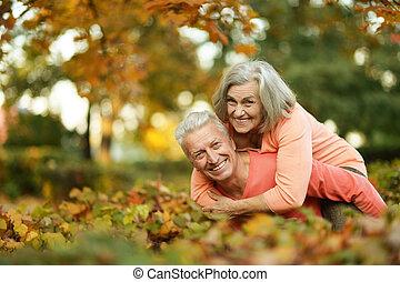 ancião, par, caucasiano