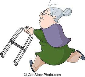 anciana, corriente, con, paseante