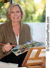 anciana, pintura, 50, años