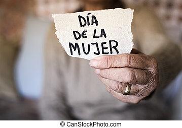 anciana, y, texto, womens, día, en, español