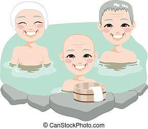anciano, hombres, tradicional, japonés, onsen