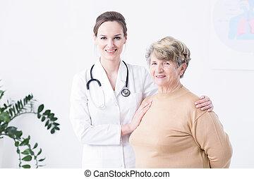 anciano, mujer, ella, doctor