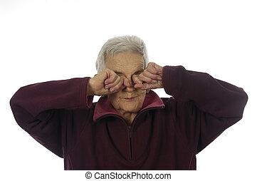 anciano, ojos, mujer, frotamiento