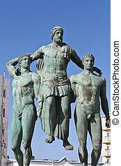 ancien, île, classique, rhodes, grec, statue, grèce