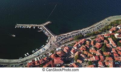 ancien, aérien, ville, toits, carreau, vieux, vue, nessebar, bulgarie