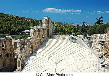 ancien, athènes, amphithéâtre, colline, acropole, ruines